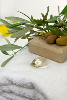 Free Olive Bath Items Isolated On The White. Wellness P Stock Photos - 9278953
