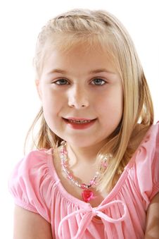 Free Cute Little Girl Wearing A Pink Dress Stock Photo - 9278960