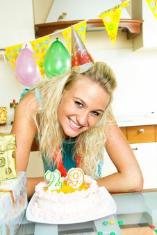 Free Girl Celebrating Birthday Stock Image - 9279481