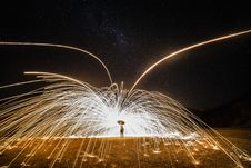 Free Glowing Sparks From Steel Wool Spinning Royalty Free Stock Images - 92710689