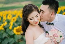 Free Bride Kissed By Groom Stock Images - 92710784