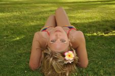 Free Woman Lying On Grass Royalty Free Stock Images - 92753059