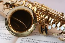 Free Saxophone And Sheet Music Stock Photography - 92753342