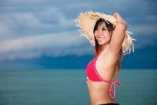 Free Young Woman Having Fun At Beach Stock Images - 9281174