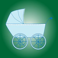 Free Blue Baby Boy Stroller Royalty Free Stock Image - 9281226
