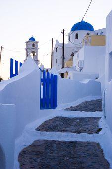 Santorini Houses - Stairway To Heaven Royalty Free Stock Photo