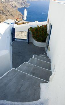 Santorini Houses - Stairway To Heaven Royalty Free Stock Photos