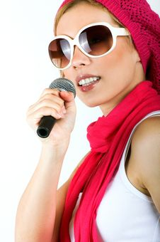 Free Singing Young Woman Royalty Free Stock Photography - 9282547