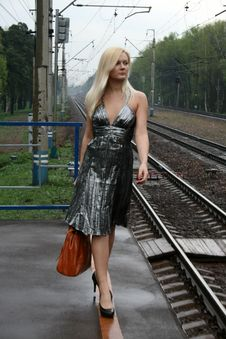 Free Girl Travels By Railroad Stock Photography - 9283112