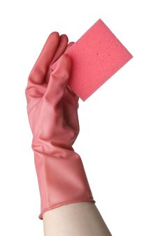 Free Hand In Pink Glove With A Sponge Stock Photo - 9283670