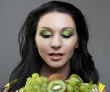 Portrait Of Young Woman Witn Fresh Fruit S Stock Photo
