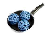 Free Three Network Blue Round Straws On Frying Pan Stock Photography - 9287622