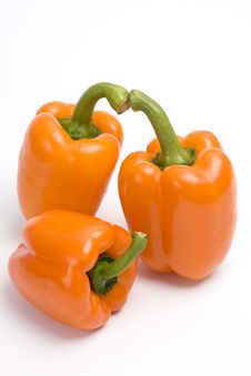 Free Three Orange Sweet Peppers. Royalty Free Stock Image - 9289336