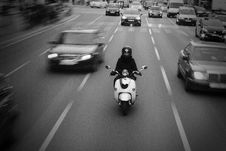 Free Rider On Motorbike On Middle Lane Of Highway Stock Photos - 92882183