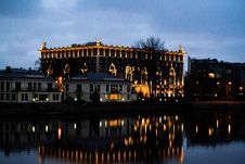 Free Hotel And Houses On River Bank Stock Images - 92882334