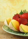 Free Sliced Cantaloupe And Strawberries Stock Photos - 9292803