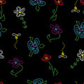 Free Hand-Drawn Seamless Flower Pattern On Black Stock Image - 9293501