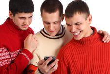 Free Three Friends Look On Handheld Computer Stock Photo - 9290460