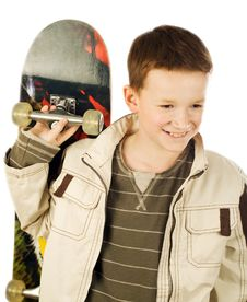 Free Young Boy Holding Skateboard Stock Image - 9290591