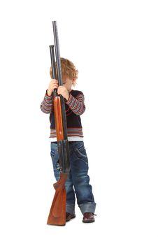 Free Little Boy With Gun Stock Image - 9291271