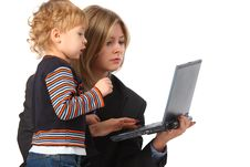 Free Mother And Son With Laptop Royalty Free Stock Image - 9291366