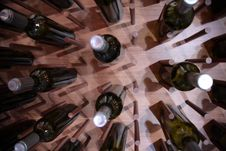 Wine Bottles On Wall Stock Photography