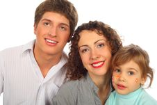Free Family Of Three With Drawings On Child Face Royalty Free Stock Photography - 9291827
