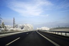 Wintertime Road Stock Photography