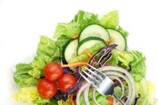 Free Salad With Lettuce Onion Cucumbers And Tomato Royalty Free Stock Photography - 9292797