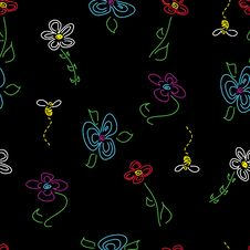 Free Hand-Drawn Seamless Flower Pattern On Black Stock Image - 9293501