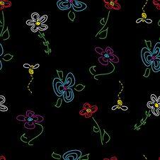 Hand-Drawn Seamless Flower Pattern On Black Stock Image