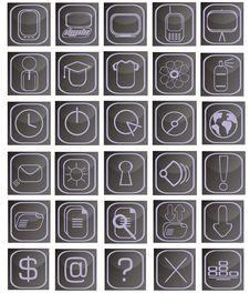 Free Square Purple And Black Icon Set Stock Photo - 9295290