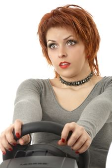 Free The Scared Girl - Driver Royalty Free Stock Images - 9295459