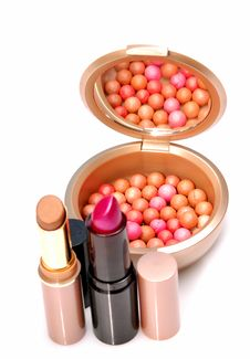 Free Blush Balls And Lipsticks Royalty Free Stock Photos - 9296298