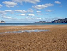 Whangapoua Beach At Low Tide, New Zealand Royalty Free Stock Photos