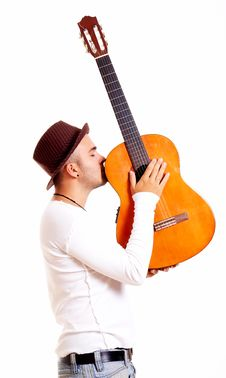 Free Man With Guitar Stock Images - 9297674