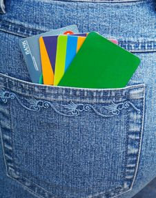 Free Cards And  Blue Jeans Royalty Free Stock Photography - 9298797