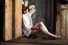 Beauty Girl In Village Stock Photos