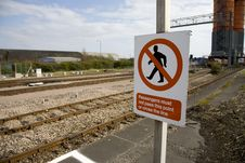 Do Not Pass This Point  Sign On Railway Platform Royalty Free Stock Photo