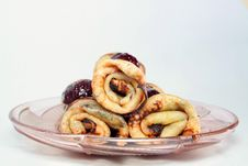 Rolled Pancakes With Strawberry Jam On A Glass Plate Stock Photography