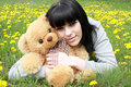 Free Brunette With Plush Teddy Bear Royalty Free Stock Photos - 9301668