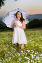 Free Young Girl With Parasol Stock Photography - 9301802
