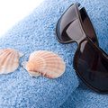 Free Towel, Shells, Sunglasses Royalty Free Stock Image - 9309176