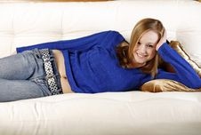Free Teen Laying On Couch Royalty Free Stock Photo - 9300875