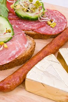 Sandwiches And Breakfast Products Stock Image