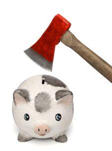 Free Breaking A Piggi Bank With An Axe Stock Photos - 9302493