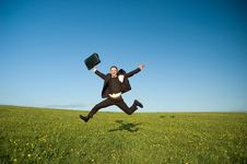 Free Jumping Happy Businessman Royalty Free Stock Photos - 9302718