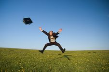 Free Jumping Happy Businessman Stock Photography - 9302732