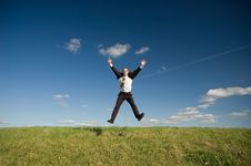 Free Jumping Happy Businessman Royalty Free Stock Photography - 9302797