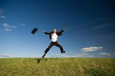 Free Jumping Happy Businessman Royalty Free Stock Images - 9302819